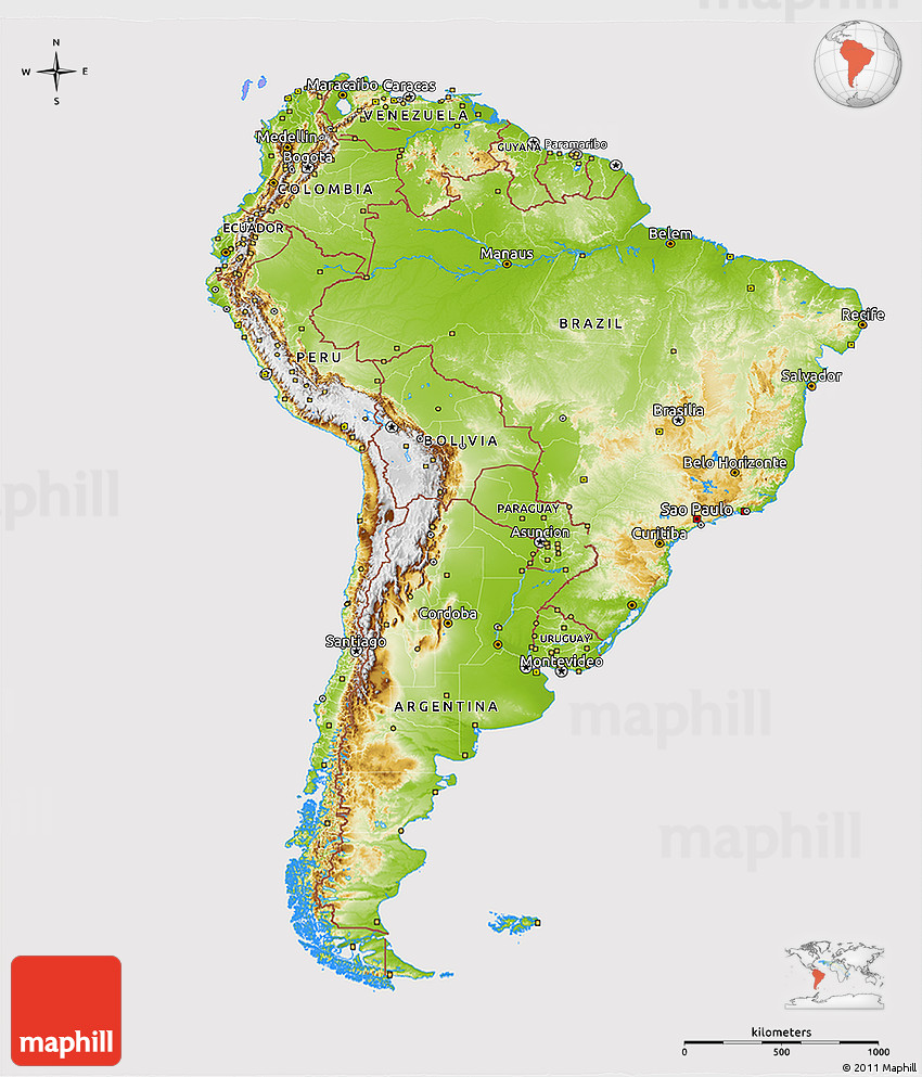 3d Map Of South America.Physical 3d Map Of South America Cropped Outside