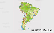 Physical 3D Map of South America, cropped outside
