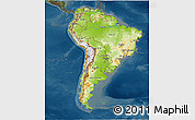 Physical 3D Map of South America, darken