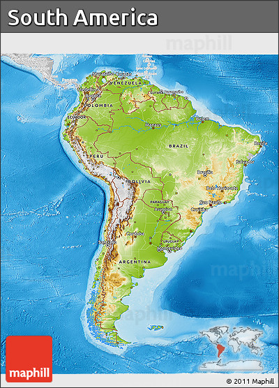 Free Physical 3D Map of South America