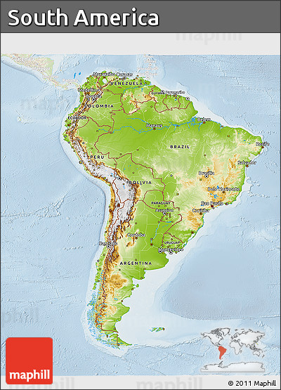 Free Physical 3D Map of South America lighten
