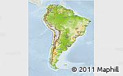 Physical 3D Map of South America, lighten