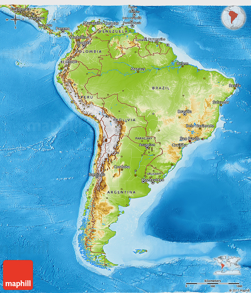 Physical 3D Map of South America