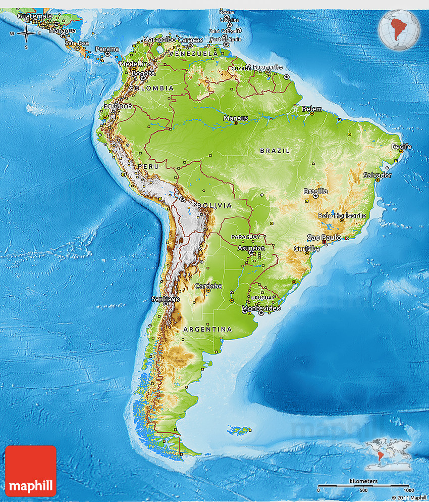 Physical 3D Map of South America political