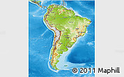 Physical 3D Map of South America, political outside, shaded relief sea
