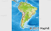 Physical 3D Map of South America, political shades outside, shaded relief sea