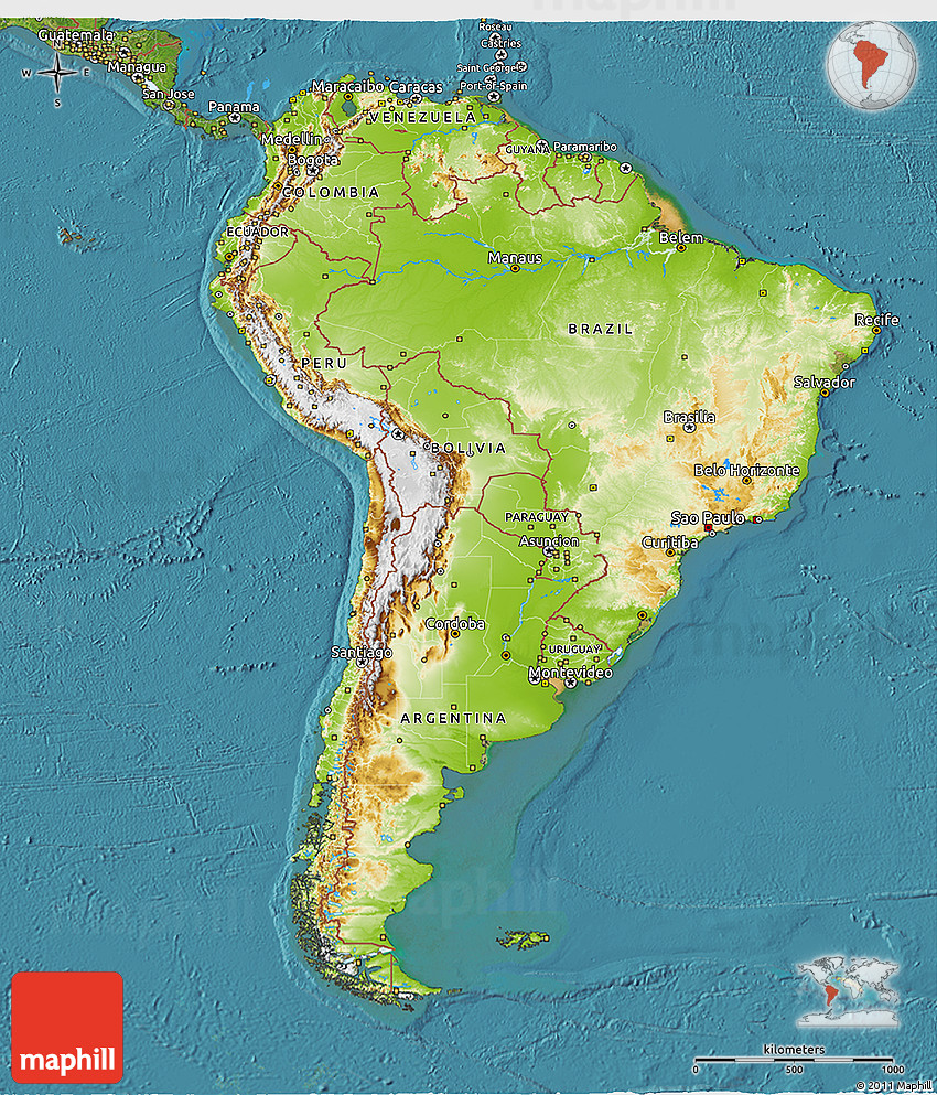 Physical 3D Map of South America satellite outside