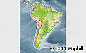 Physical 3D Map of South America, semi-desaturated