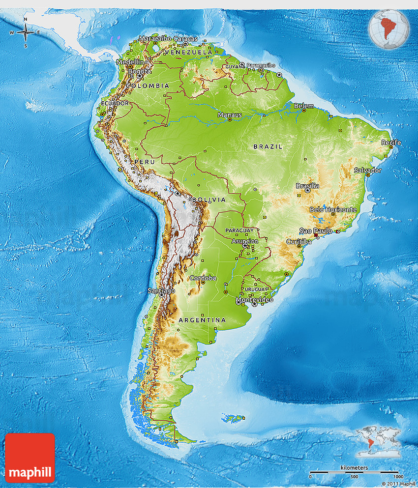 South America: Physical 3D Map Of South America, Single Color Outside