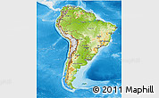 Physical 3D Map of South America, single color outside