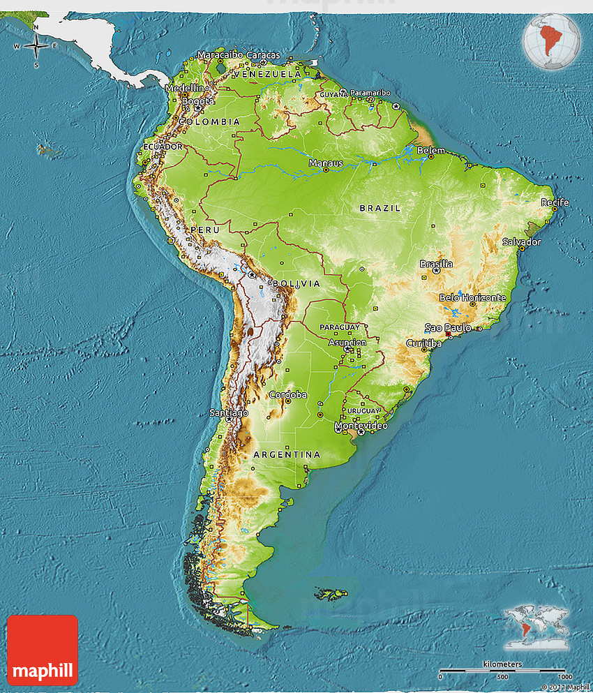 Physical 3d map of south america single color outside for What color is south america