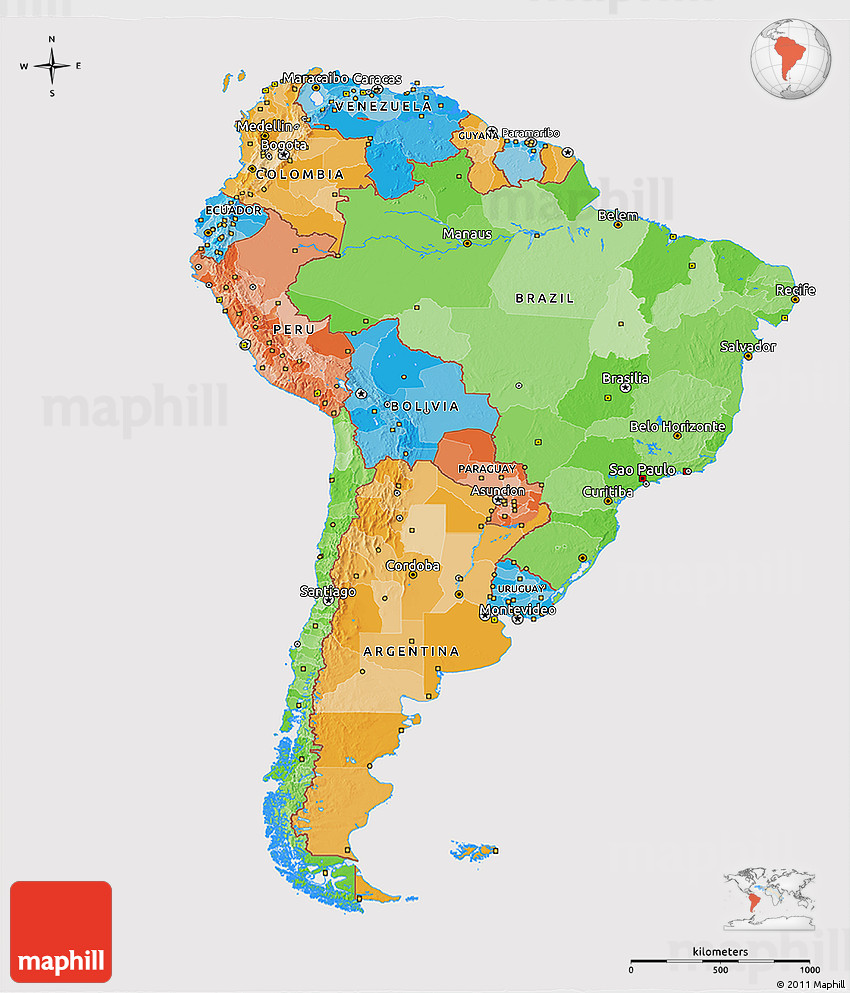 Political 3D Map of South America, cropped outside
