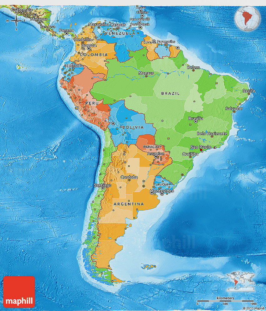 Political D Map Of South America Physical Outside - South america physical map