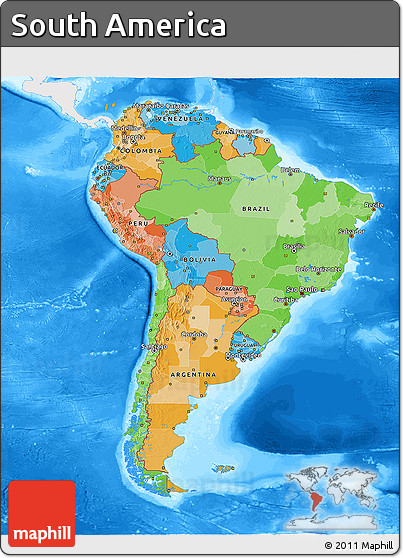 Free political 3d map of south america single color for What color is south america
