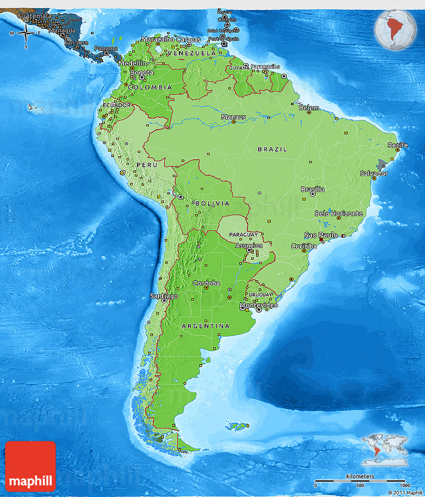South America: Political Shades 3D Map Of South America, Darken, Land Only