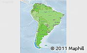 Political Shades 3D Map of South America, lighten