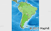 Political Shades 3D Map of South America, satellite outside, bathymetry sea