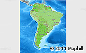 Political Shades 3D Map of South America, semi-desaturated, land only