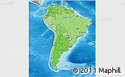 Political Shades 3D Map of South America, shaded relief outside, bathymetry sea