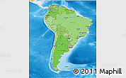 Political Shades 3D Map of South America, single color outside