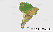 Satellite 3D Map of South America, cropped outside