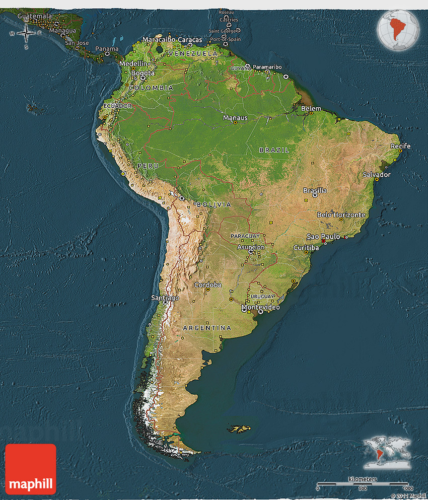 3d Map Of South America.Satellite 3d Map Of South America Darken