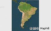 Satellite 3D Map of South America, darken