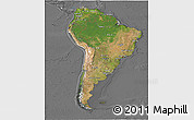 Satellite 3D Map of South America, desaturated