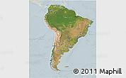 Satellite 3D Map of South America, lighten