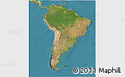 Satellite 3D Map of South America, physical outside, satellite sea
