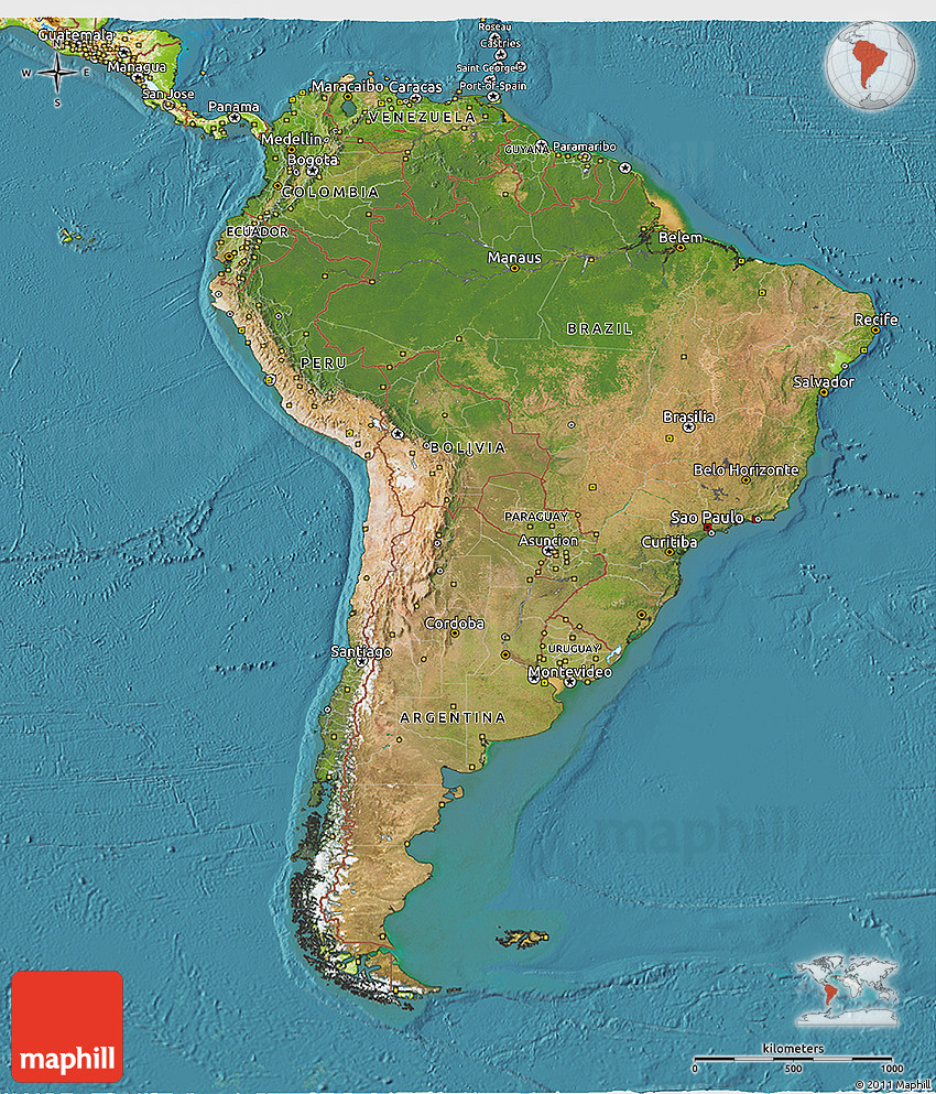 Satellite 3D Map of South America physical outside satellite sea