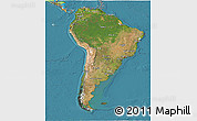 Satellite 3D Map of South America, political outside, satellite sea
