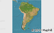 Satellite 3D Map of South America, political shades outside, satellite sea