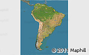 Satellite 3D Map of South America, semi-desaturated, land only