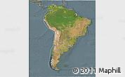 Satellite 3D Map of South America, semi-desaturated