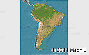 Satellite 3D Map of South America, shaded relief outside, satellite sea