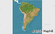 Satellite 3D Map of South America, single color outside