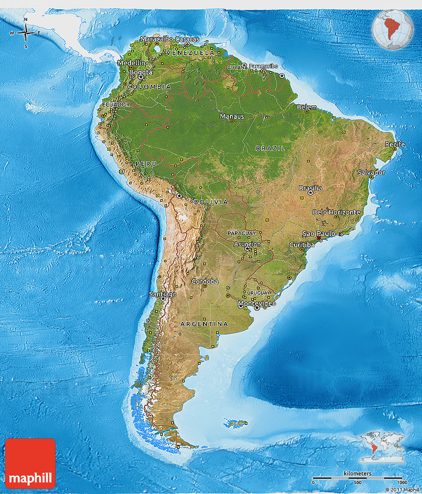 Satellite 3d map of south america single color outside for What color is south america