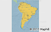 Savanna Style 3D Map of South America, single color outside