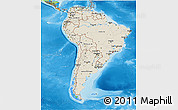 Shaded Relief 3D Map of South America, political outside, shaded relief sea