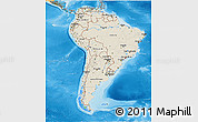 Shaded Relief 3D Map of South America, political shades outside, shaded relief sea