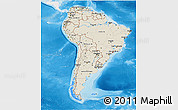 Shaded Relief 3D Map of South America, single color outside