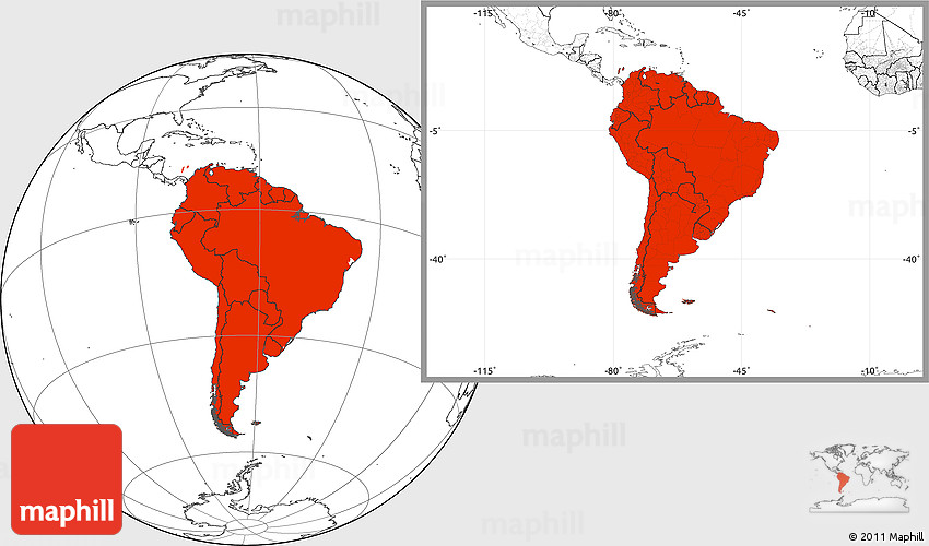 Blank Location Map of South America
