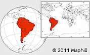 Blank Location Map of South America, within the entire world