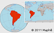 Gray Location Map of South America, within the entire world