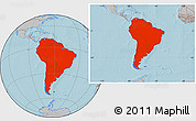 Gray Location Map of South America, hill shading