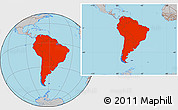 Gray Location Map of South America