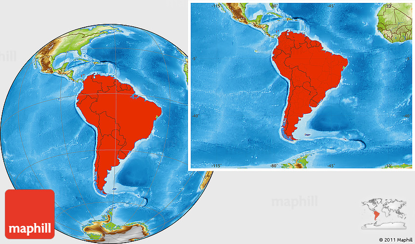 Physical Location Map of South America
