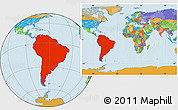Political Location Map of South America, within the entire world