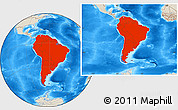Shaded Relief Location Map of South America